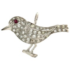 Handcraft Bird 18 Karat White Gold Diamonds Ruby Pendant Necklace
