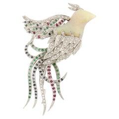 Handcraft Bird Opal 18 Karat White Gold Diamonds Sapphires Emeralds Ruby Brooch