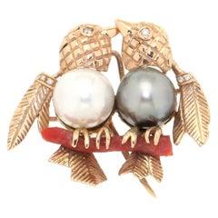 Handcraft Birds 14 Karat Yellow Gold Pearls Coral Diamonds Brooch