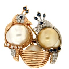 Handcraft Birds 18 Karat White and Yellow Gold Pearls Diamonds Sapphires Brooch