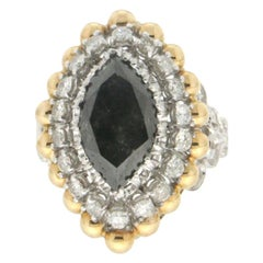 Handcraft Black Diamond 18 Karat White and Yellow Gold Diamonds Cocktail Ring