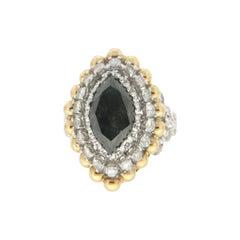 Handcraft Black Diamond 18 Karat White Gold Diamonds Cocktail Ring