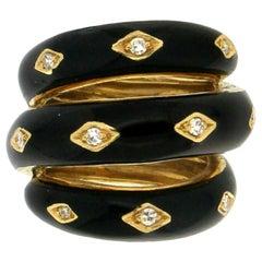 Handcraft Black Enamel 18 Karat Yellow Gold Diamonds Cocktail Ring