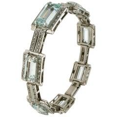 Handcraft Brazilian Aquamarine 18 Karat White Gold Diamonds Cuff Bracelet