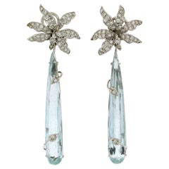 Handcraft Brazilian Aquamarine 18 Karat White Gold Diamonds Drop Earrings