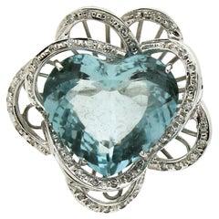 Handcraft Brazilian Aquamarine Heart 18 Karat White Gold Diamonds Cocktail Ring
