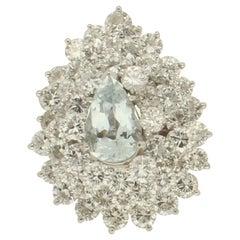 Handcraft Brazilian Aquamarine Platinum Diamonds Cocktail Ring