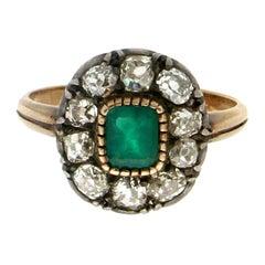 Handcraft Brazilian Emerald 18 Karat Yellow Gold Diamonds Cocktail Ring