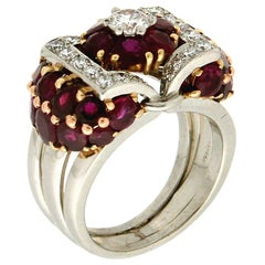 Handcraft Burma Ruby 18 Karat White Gold Diamonds Cocktail Ring