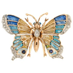 Handcraft Butterfly 14 Karat Yellow and White Gold Diamonds Enamel Brooch