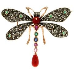 Handcraft Butterfly 14 Karat Yellow Gold Coral Emerald Sapphires Diamonds Brooch