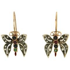 Handcraft Butterfly 14 Karat Yellow Gold Diamonds Drop Earrings