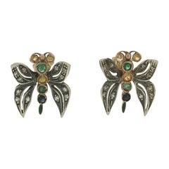Handcraft Butterfly 14 Karat Yellow Gold Diamonds Emerald Sapphire Stud Earrings