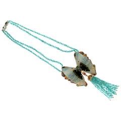 Handcraft Butterfly 14 Karat Yellow Gold Diamonds Ovalite Drop Necklace