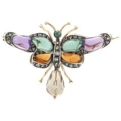Handcraft Butterfly 14 Karat Yellow Gold Emerald Amethyst Diamonds Brooch
