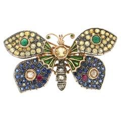 Handcraft Butterfly 14 Karat Yellow Gold Sapphires Ruby Emeralds Diamonds Brooch