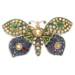 Handcraft Butterfly 14 Karat Yellow Gold Sapphires Ruby Emeralds Diamonds Brooch