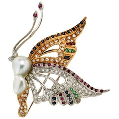 Handcraft Butterfly 18 Karat White and Yellow Gold Pearl Diamonds Brooch