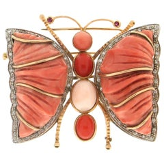 Handcraft Butterfly 18 Karat Yellow and White Gold Ruby Diamonds Coral Brooch