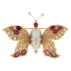 Handcraft Butterfly 18 Karat Yellow Gold Ruby Pearl Diamonds Brooch
