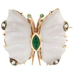 Handcraft Butterfly Chalcedony 14 Karat Yellow Gold Diamonds Emeralds Brooch