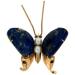 Handcraft Butterfly Lapis 14 Karat Yellow Gold Ruby Pearls Brooch