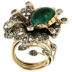 Handcraft Cabochon Emerald 14 Karat Yellow Gold Diamonds Cocktail Ring
