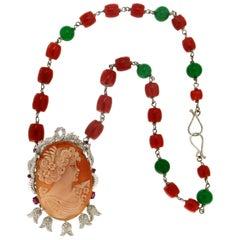 Handcraft Cameo 14 Karat White Gold Coral Diamonds Aventurine Pendant Necklace