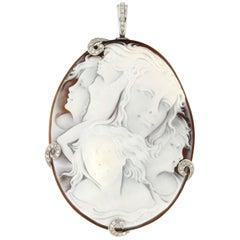 Handcraft Cameo 18 Karat White Gold Diamonds Pendant Necklace