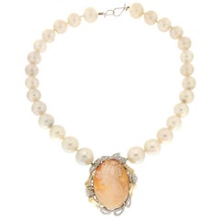 Handcraft Cameo 18 Karat White Gold Japan Pearls Diamonds Pendant Necklace