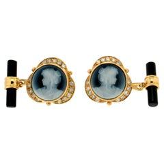 Handcraft Cameo 18 Karat Yellow Gold Diamonds Onyx Barrels Cufflinks