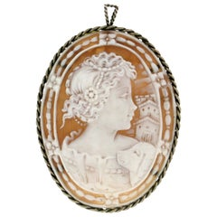 Handcraft Cameo 800 Karat Silver Brooch and Pendant Necklace