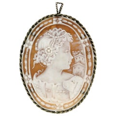 Handcraft Cameo 800 Thousandths Silver Brooch and Pendant Necklace