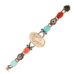 Handcraft Cameo Coral 9 Karat Yellow Gold Turquoise Diamonds Cuff Bracelet