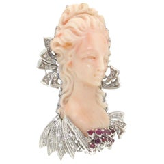 Handcraft Cameo Coral 18 Karat White Gold Ruby Diamonds Brooch