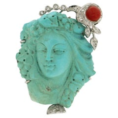 Handcraft Cameo Turquoise 18 Karat White Gold Coral Diamonds Brooch and Pendant