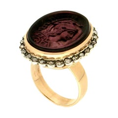 Handcraft Cameo Warrior 14 Karat Yellow Gold and Silver Diamonds Cocktail Ring