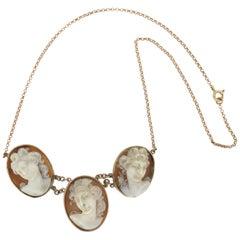 Handcraft Cameos 9 Karat Yellow Gold Drop Necklace