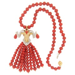 Handcraft Capricorn 18 Karat White and Yellow Gold Diamonds Coral Drop Necklace