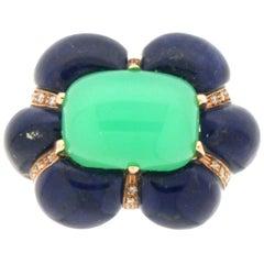 Handcraft Chrysoprase 14 Karat Yellow Gold Lapis Lazuli Diamonds Cocktail Ring