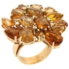 Handcraft Citrine 14 Karat Yellow Gold Diamonds Cocktail Ring
