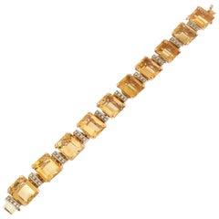 Handcraft Citrine 14 Karat Yellow Gold Diamonds Cuff Bracelet