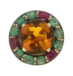 Handcraft Citrine 14 Karat Yellow Gold Emerald And Ruby Cocktail Ring