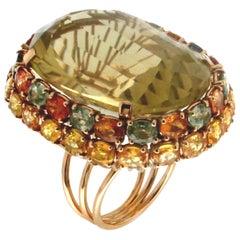 Handcraft Citrine 14 Karat Yellow Gold Sapphires Cocktail Ring