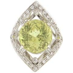 Handcraft Citrine 18 Karat White Gold Diamonds Cocktail Ring