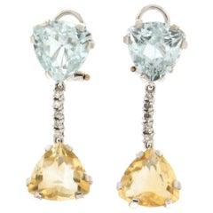 Handcraft Citrine 18 Karat White Gold Diamonds Drop Earrings