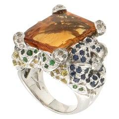 Handcraft Citrine 18 Karat White Gold Diamonds Emeralds Sapphires Cocktail Ring