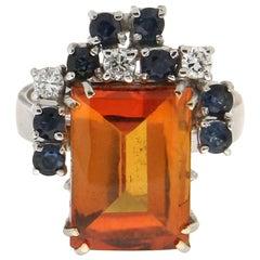 Handcraft Citrine 18 Karat White Gold Diamonds Sapphires Cocktail Ring