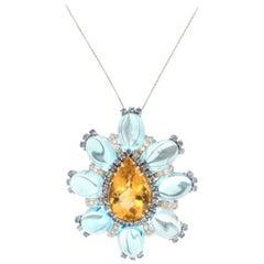 Handcraft Citrine 18 Karat White Gold Diamonds Topaz Sapphires Pendant Necklace