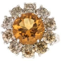 Handcraft Citrine 18 Karat White Gold Fancy Diamonds Cocktail Ring